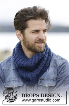 "King Cove - Knitted DROPS neck warmer with texture and rib in ""Karisma"". - Free pattern by DROPS Design Knitting Patterns Free, Knit Patterns, Free Knitting, Free Pattern, Drops Design, Mens Knitted Scarf, Knitted Hats, Scarf Knit, Magazine Drops"