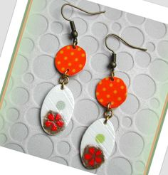 """FRAICHES/Boucles d'oreilles """" harmonie des pois et des fleurs """"/www.alittlemarket.com/boutique/lesartistesetvous : Boucles d'oreille par lesartistesetvous"""