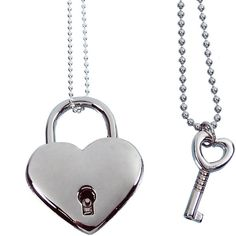 Silver Heart Lock and Key Couples Necklace Real working Lock Pendant ($35) ❤ liked on Polyvore featuring jewelry, pendants, silver charm pendant, silver heart pendant, pendant jewelry, silver pendant and heart pendant