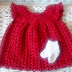 Crocheted Red Baby Dress Pinafore Infant Girl Cotton by RaeOfLight, $24.95