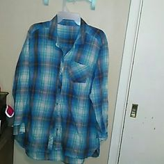 Womens Flannel Shirt. Woman 's Blue, Green, Gray and white flannel shirt. Very Soft. Can wear with either shorts,Capri, jeans or wear it as a jacket for summer, or spring. n/a Tops Button Down Shirts