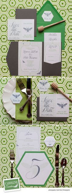 Dallas Fort Worth custom wedding invitations by Caroline Creates