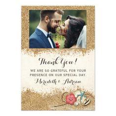 Sandy Beach Hibiscus Wedding Thank You Photo Card