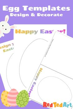 """Red Ted Art's Egg Template - grab one of 4 simple Egg Templates to Design and Decorate. 2 are in """"card"""" format, so you can then post them to friends and family. Two are in large format, for extra creative fun! Perfect for collages or mindful doodling."""