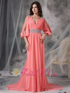 Customize Watermelon Red V-neck Prom / Evening Dress Chiffon Beading Court Train  http://www.fashionos.com/  http://www.facebook.com/quinceaneradress.fashionos.us  This beautiful full length gown highlights the sophistication of your evening out, from the sweeping lines of the light pleated skirt to the sheer,split, three quarter length sleeves. Criss cross ruching creates a soft bodice, under a sexy V neckline. The sleeves and empire waistline are jewel encrusted, with a spectacular design.