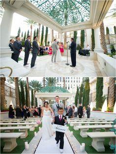 Outdoor wedding ceremony in the gazebo of the Palms Casino Resort in Las Vegas ~ Photo: Adam Nyholt Photographer