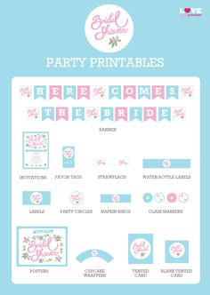 Free Bridal Shower party printables with editable invitations! #bridalshower #freeprintables
