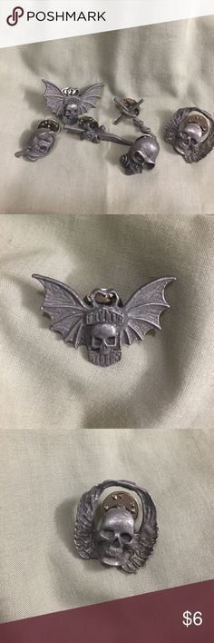 Pewter Jewelry - Heavy Metal Fan Gear Skulls and Snakes - get ready to adorn your thrasher hats and shirts with some heavy metallic pins. Accessories Jewelry