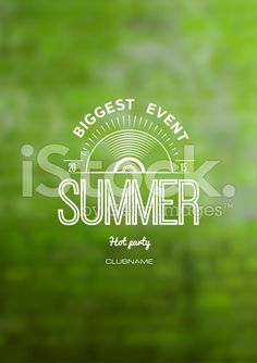 Summer label logo on the background blurred background green royalty-free stock vector art