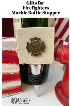 Classic Legacy firefighter gifts include jewelry, accessories, and wine gifts.   Each gift is embellished with the antique brass Saint Florian medallion. #firefighter #firstresponder #fireman #firefightergifts #fireman Patron Saint Of Firefighters, Saint Florian, Custom Wine Bottles, Silver Money Clip, Firefighter Gifts, Wine Bottle Stoppers, Firemen, Wine Gifts, Customized Gifts