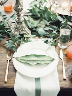 Lush green table setting