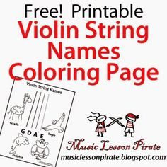 Violin String Names for Young Beginners | Printable Coloring Page