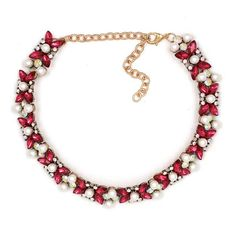 Strawberry Choker  This gorgeous choker flaunts femininity and style featuring iridescent and pink gemstones! The pearls completes this piece for a polished & stylish look. Adorable with a crisp white collar shirt and jeans!