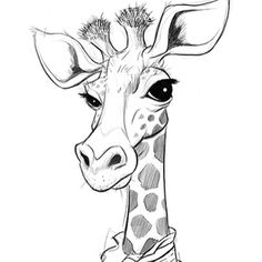 Jon Thomson - New Sites Animal Line Drawings, Cool Art Drawings, Pencil Art Drawings, Animal Sketches, Drawing Sketches, Art And Illustration, Giraffe Art, Cute Giraffe Drawing, Animal Paintings