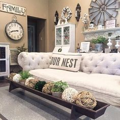We are loving this beautiful room! Can you find the ANTIQUE FARMHOUSE pieces? Let's see – there's the windmill, a cotton wreath, the Our Nest pillow and our chicken feeder! Cindy of The Vintage Road sure has style!