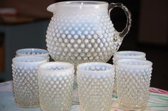 Opalescent hobnail pitcher & tumblers. WANT a set so bad. Every cottage needs a set don't ya think?