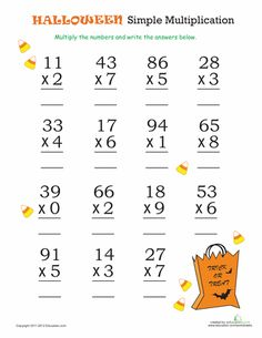 halloween math simple multiplication 2 - 3rd Grade Halloween Worksheets