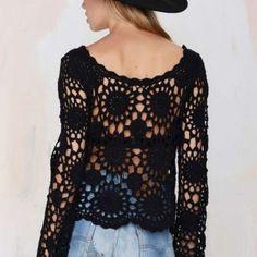 Fabulous Crochet a Little Black Crochet Dress Ideas. Georgeous Crochet a Little Black Crochet Dress Ideas. Cardigan Au Crochet, Gilet Crochet, Black Crochet Dress, Crochet Shirt, Crochet Lace, Crochet Tops, Crochet Stitch, Crochet Motif, Mode Crochet