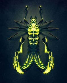 Randomly Generated Polygonal Insects by 'Istvan' for NeonMob   Colossal