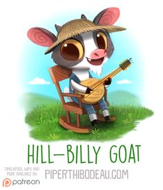 Daily Paint Hill-Billy Goat by Piper Thibodeau on ArtStation. Animal Puns, Funny Animals, Cute Animals, Funny Drawings, Cute Animal Drawings, Cute Fruit, Fanart, Cute Illustration, Humor