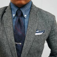 Dapper style in grays and blues.