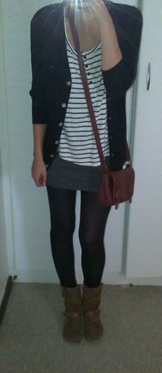 Longer length cardi LABEL Femme @ www.sassychic.co.za; stripe t-shirt JayJays; tight mini-skirt Woolworths; tights Mr Price; ankle boots Rage; handbag Woolworths