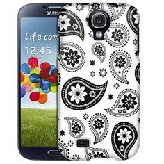 Samsung Galaxy S4 Paisleys Cute Black on White Slim Case