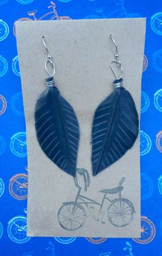 Recycled Bike Tube Feather Earrings - Silver by maybirdjewelry on Etsy