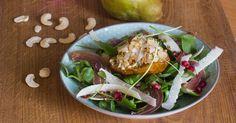 Slaatje met geroosterde peren Prosciutto, Healthy Recipes, Healthy Food, Tacos, Brunch, Veggies, Mexican, Chicken, Meat