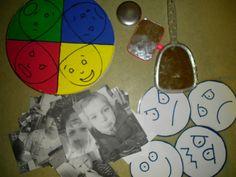 Gevoelensdoos: met foto's van de kinderen, spiegels en prenten.