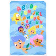 "Bubble Guppies Plush Reversible Toddler Blanket (092317111920) Featuring vibrant graphics of your little one's favorite cartoon characters, this ultra-soft Bubble Guppies Plush Reversible Toddler Blanket will thrill your Nick Jr. fan. In multi. PRODUCT FEATURES Gil, Molly, Mr. Grouper, Bubble Puppy, Goby, Deema, Nonny & alphabet graphics PRODUCT DETAILS 42"" x 30"" Polyester Machine wash Imported Model no. BBG11192S Promotional offers available online at Kohls.com may vary from those offered…"