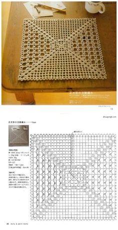 Crochet Dishcloth - Chart ❥ 4U hilariafina http://www.pinterest.com/hilariafina/