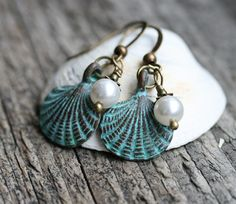 Seashell Earrings, Rustic Beach Earrings, White Pearl Earrings, Seashell Jewelry, Patina, Beaded Earrings, Sea jewelry by MayaHoney by MayaHoneyJewelry on Etsy