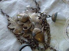vintage dauplaise oak leaf and acorn earrings   An amazing antique dress clip depicting oak leaves and acorns has been ...