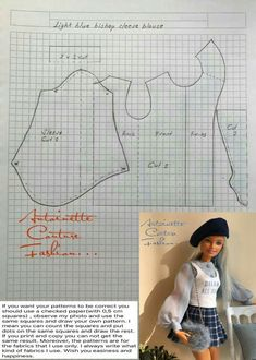 Fashion Dolls Couture - Unlimited: Light Blue Bishop Sleeve Blouse -Made to Move Barbie - Source by elodiemeneyrol clothes fashion Sewing Barbie Clothes, Barbie Sewing Patterns, Doll Dress Patterns, Sewing Dolls, Clothing Patterns, Dolls Dolls, Girl Dolls, Barbie Fashionista, Barbie Mode