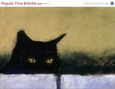 Black Cat Print 7 x 5 Cat Art from a painting von AlisaPaints, $8.00