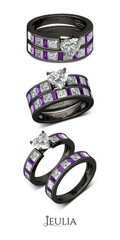 Heart Cut Created White Sapphire with Amethyst Sidestone Rhodium Plated Sterling Silver Women's Ring #Jeulia