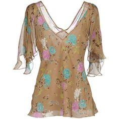 JOHN GALLIANO Blouse ($285) ❤ liked on Polyvore featuring tops, blouses, shirts, camel, camel shirt, floral tops, flower print blouse, floral shirt and shirt blouse