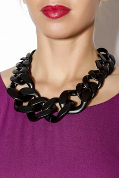 Black Chunky Link Necklace - main