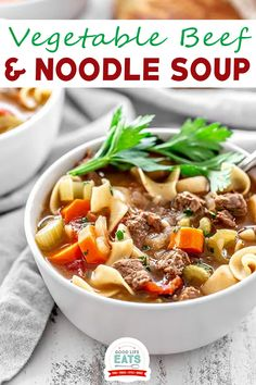 Vegetable Beef and Noodle Soup is a comforting soup recipe for cold winter evenings! This soup recipe is loaded with veggies, tender bites of beef, and egg noodles for a delicious winter soup! This Vegetable Beef and Noodle Soup Recipe is one of my favorite soups to make on cold winter days. This is one of those recipes that I often make on snow days because it is perfect for those cozy days when everyone is home from school and work. | @goodlifeeats Great Dinner Recipes, Good Healthy Recipes, Healthy Meals, Whole Food Recipes, Healthy Food, Easy Meals, Beef And Noodles, Egg Noodles, Winter Soups