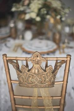Crown chair decor | Bellamint Photography | http://burnettsboards.com/2014/01/royalty-themed-wedding/