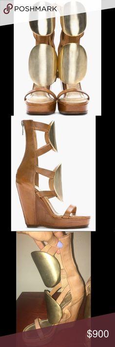RICK OWENS  gold medallion runway heels RICK OWENS  gold medallion runway heels in size 36. Comes with original box Rick Owens Shoes Wedges