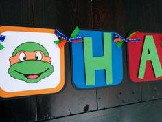 TMNT Birthday Party, Teenage Mutant Ninja Turtle Birthday Banner, Ninja birthdayBanner, TMNT banner