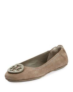 Minnie Snake-Embossed Travel Ballet Flat, Granite by Tory Burch at Neiman Marcus.