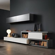 Disegno Wall Unit III by Sangiacomo, Italy in matt ferro and bianco lacquer. Manufactured By San Giacomo. Living Room Tv, Interior Design Living Room, Living Room Designs, Modern Tv Wall Units, Rack Tv, Resource Furniture, Muebles Living, Transforming Furniture, Paint Colors For Living Room