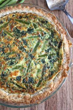 Quiche met groene asperges, spinazie en feta...jammie!