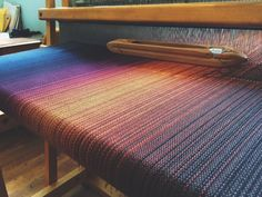 """Solstice"" is on the loom. I am so in love #crimsonclover #weaving #handwoven #handweaving #handmade #loom #bamboo #cotton #poncho #scarf #tote #etsy #etsyshop #etsyseller #etsyhandmade"