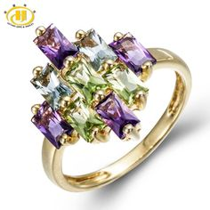 2016 natural peridot amethyst blue topaz solid yellow gold over 925 sterling silver ring fine
