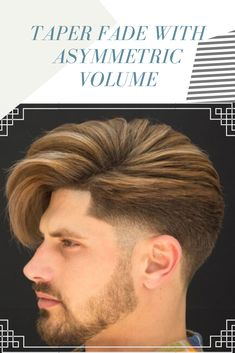 Taper Fade with Asymmetric Volume . Volume Hairstyles, Men Hairstyles, Mens Taper Fade, Face Men, Mens Fashion, Long Hair Styles, Whoville Hair, Man Fashion, Moda Masculina