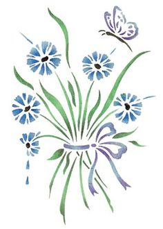 Quickly and easily create a country ambience in your home with our Cornflower Bouquet Painting Stencil!